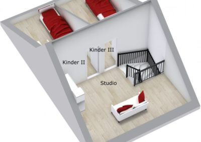 Grundriss 3D Dachgeschoss Reihenmittelhaus Herdecke-Westende