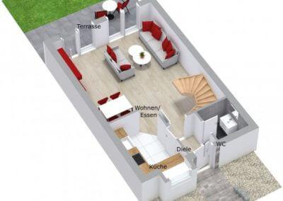 Grundriss 3D Erdgeschoss Reihenmittelhaus Herdecke-Westende