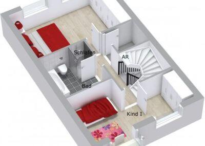 Grundriss 3D Obergeschoss Reihenmittelhaus Herdecke-Westende