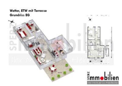Grundriss von Eigentumswohnung mit Terrasse in Wetter