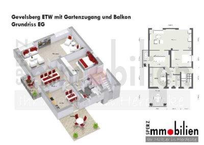 Grundriss von gemütlicher Wohnung mit Terrasse und Balkon in Gevelsberg