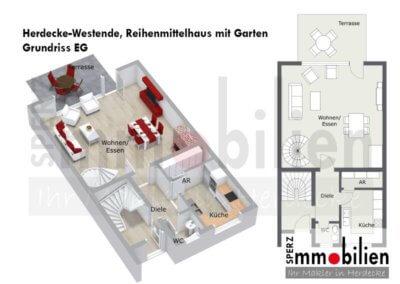 Grundriss von großzügigem Reihenmittelhaus mit Garage in Herdecke-Westende
