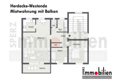 Grundriss von komplett eingerichteter Wohnung in Herdecke-Westende